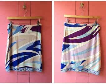 Vintage Emilio Pucci Blue Multicolour Skirt