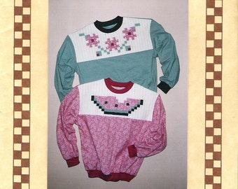 Loose Fitting Pullover Shirt,  Watermelon  Flower Patchwork, Gardner's Choice, Crafts Pattern,  Oatmeal Originals Pattern Misses 8-16
