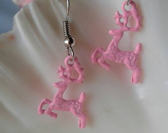 Pink Deer Earrings Buck Earrings