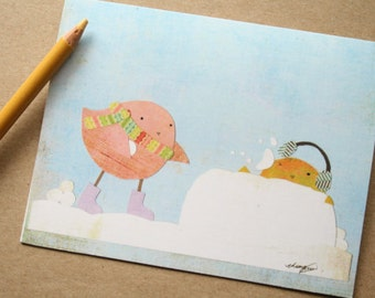 CARD: Two Birds Having a Snowball Fight - Blank Card, Holiday, Christmas, Winter, Season's Greetings