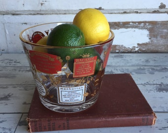 Vintage Glass Ice Bucket Mad Men Bartender  Gold and Red Recipe Motif