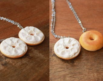Bagel friendship Necklaces - Miniature Food Jewelry, bff necklaces, friendship jewelry, birthday gift, Polymer Clay Food Necklace