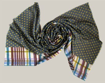Wool silk printed scarf, polka dots scarf, striped scarf, multicoloured scarf, lightweight and warm scarf, gift for woman