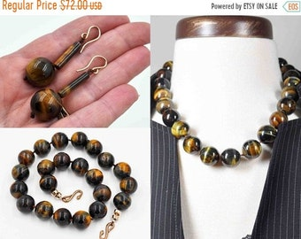 Vintage 14K Gold Filled Tiger Iron Necklace & Earrings Set, Tiger Eye, Hand Knotted, Chatoyant, Multi Color, Artisan, Amazing! #c484