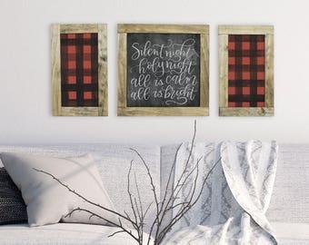 Buffalo Plaid Wood Sign, Farmhouse Decor Wood Sign, Farmhouse Christmas Sign, Rustic Christmas Wood Sign