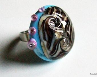 Brown Blue beige glass ring Lampwork on adjusting ring