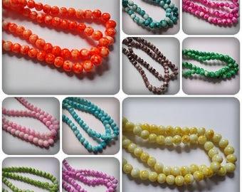 8mm Mottled glass beads, Mottled glass beads, Glass beads, Mottled beads, Round glass beads, 8mm Beads, Beads, Craft beads, Jewellery making
