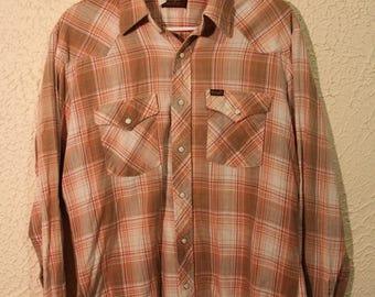 Wrangler Snap Button Western Shirt (70's Era, American Made, Large, L, Vintage)