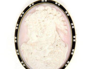 Antique 14K Yellow Gold LARGE Carved Coral Cameo Enamel Frame Pin Brooch Pendant