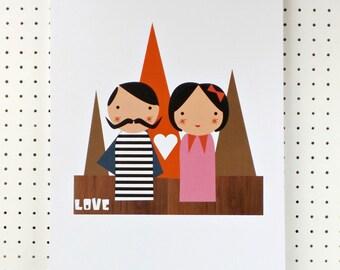 SALE Love Print Mr and Mrs Pink Orange Black A3 Poster
