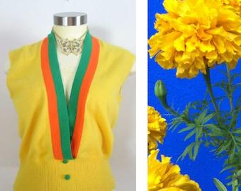 Vintage Mod Pullover Vest Yellow Green Orange Unisex Sweater