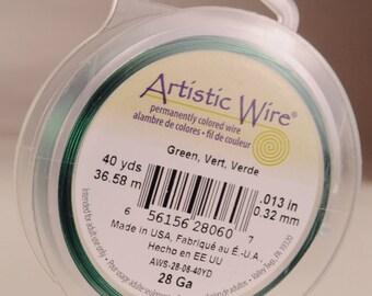 Artistic wire 28 gauge: silver-plated, copper core, seafoam color