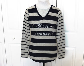 "Grey, Navy, and Silver ""By His Stripes"" Striped Long Sleeved T-Shirt - Small - Christian Fashion, Jesus, healed, healing, T-Shirt, graphic"