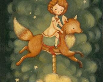Children's Art - The Fox Carousel Print 5x7 / 6x8 - Nursery Art, Fox, Kid, Cloud, Night, Bedtime, Stars, Sky, Girl, Cute, Blue, Yellow, Red