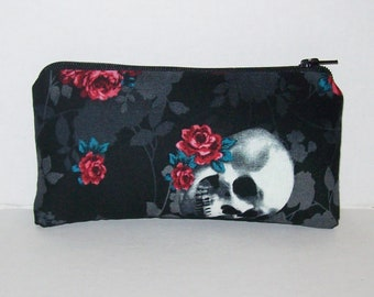 """Pipe Pouch, Skull + Rose Bag, Pipe Case, Pipe Bag, Padded Pipe Pouch, Skulls Purse, 420, Goth Bag, Zipper Bag, Smoke Accessory - 5.5"""" SMALL"""