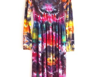 Tie Dye Midi Dress Long Sleeve Festival Hippie Summer Unique Tumblr Grunge Coachella Gift For Her S/M | M/L