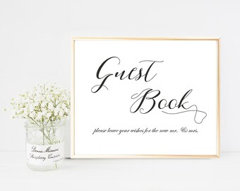 Printed Guest Book Wedding Sign, Please Sign Our Guest Book Sign, Guest Book Sign Paper, Wedding Guest Book Sign, Guest Book Sign Print