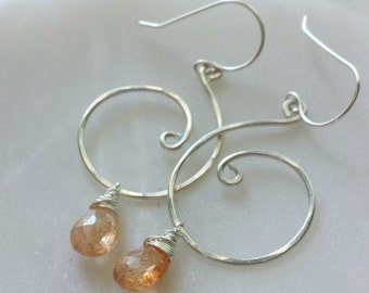 Sunstone Earrings, Natural Sunstone, Silver Swirl Earrings, Orange Sunstone, Sterling Silver Earrings, Sunstone Drop Earrings
