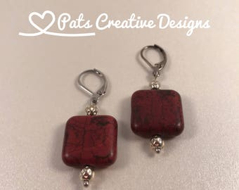 Dark Wine Burgundy Square Dangle Beads