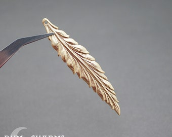 0089 - Pendant Connector, Matte Gold Plated, Thin Long Feather Leaf Pendant, 2 Piece