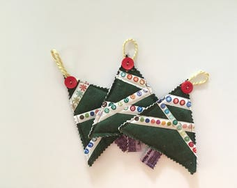 Selvage Christmas Ornaments - Selvage Christmas Trees - Fabric Ornaments