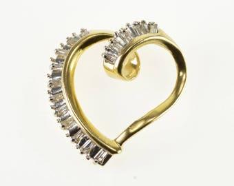 14k Baguette Channel Set Wavy Curvy Heart Pendant Gold
