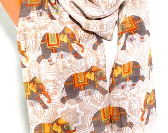 Scarf, Scarves, Shawl, Wrap, Elephant Printed Scarf, Elephant Shawl, Elephant pattern, infinity Scarf, Lightweight Scarf, Gift for Christmas