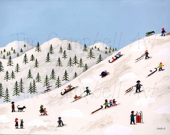 Toboggan Hill Giclee Print by Tim Campbell