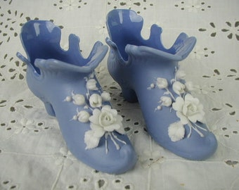 Pair Periwinkle Blue Porcelain Shoes, With Applied Roses and Lily-of-the Valley, Fairy Slippers
