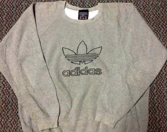 Vintage ADIDAS big logo sweatshirt..hip hop swag raptees..size large