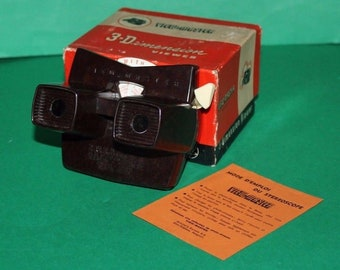 Sawyers Viewmaster Stereoscope Model E Bakelite Brown With Box Leaflet & Reel