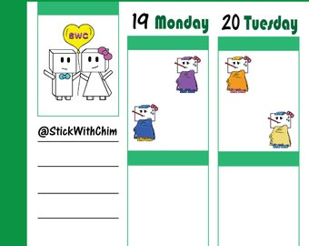 Bow Robot Girl Sick   Cute Planner Stickers   Perfect for planners and calendars   R2024