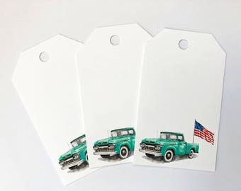 Ford Truck gift tags, set of 10 gift tags, Classic cars, American Flag, July 4th, watercolor gift labels, Independence day, truck gift label
