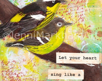 Mixed Media Collage Original - Heart Song, Wall Art, Canvas