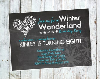 5x7 Winter Wonderland Birthday Invite