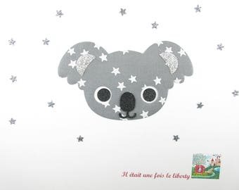 Applied fusible head Koala fabric grey starry glitter flex patch iron on patch seamless pattern fabric applique