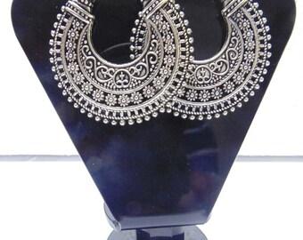 Oxidized Silver Plate Dangle Earrings , Boho Earrings , Chandelier Earrings , Gypsy Earrings , Belly dance earrings , Tribal Earrings