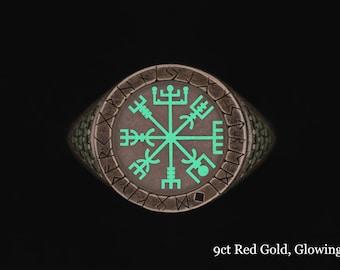 Glow Viking Rune Ring Vegvisir Ring Viking Ring Rune Compass norse ring viking rune jewelry viking norse jewelry women viking ring