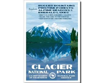 "Glacier National Park Poster, WPA style,  13"" x 19"" Signed by the artist. FREE SHIPPING!"
