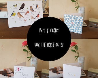 Buy 4 Greeting Cards - Choose Your Own - Offer - Blank