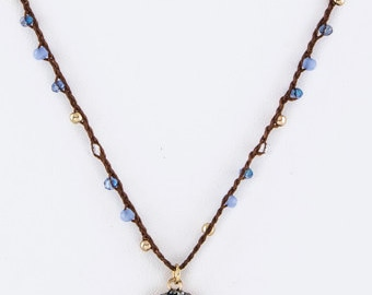 Mix Beads & Crystal Pendant Necklace