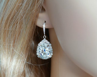 Handmade Swarovski Crystal Clear Pear Crystal Dangle Earrings, Bridal, Wedding (Sparkle-2605)