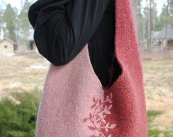 Knit Wool Felted Shoulder Bag, Felted Wool Purse, Felted Wool hand bag, Pink, Brown, Purple, Green, available in DIFFERENT SIZES and COLORS