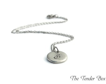 Personalized Monogram Initial Pewter Pebble Necklace Custom Hand stamped Bridesmaids Wedding gift Hand stamped Pewter Letter Necklace