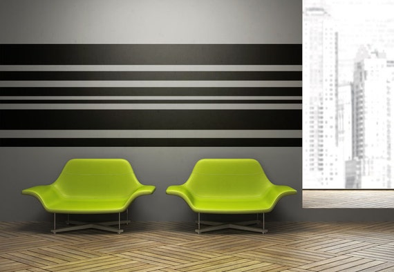 Stripe Wall Decal Horizontal Wall Art Horizontal Striped
