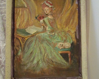 Marie Antoinette Painting Bas Relief, Shabby Chippy Darling, 3-D