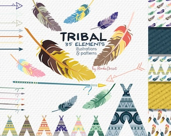 Tribal Clipart, Arrows Clip Art, Tribal Papers, Teepee Clipart Tents, Feathers Illustration, Indian Clipart, Arrow Background C139