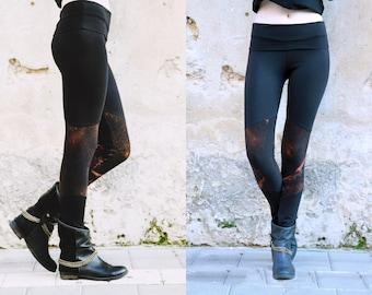 Goth Leggings, Black Leggings, Women Yoga Leggings, Rocker Leggings, Hand Bleach Dyed Leggings