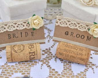 Set of 10 Handmade wedding table name settings/placements with lace, flowers & ribbon (can be pre-stamped). Rustic/shabby/country/chic