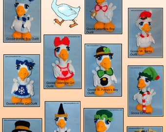 Crochet Goose Doll OUTFITS Set 2, crochet outfits, crochet patterns, crochet doll outfits